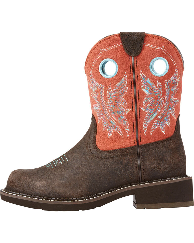 Ariat Women's Fatbaby Heritage Chocolate Coral Cowgirl Boots - Round Toe, Chocolate, hi-res
