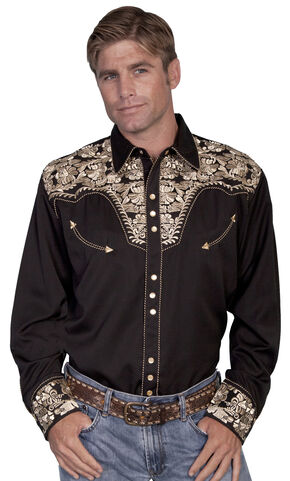 Scully Embroidered Retro Western Shirt - Big, Gold, hi-res