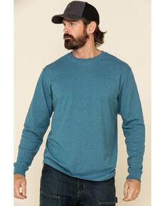 Carhartt Men's Ocean Blue Heather Signature Sleeve Logo Long Sleeve Work T-Shirt , Blue, hi-res
