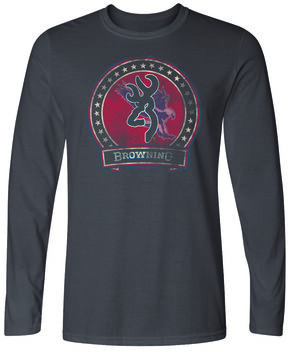 Browning Men's Clark Long Sleeve Tee, Charcoal Grey, hi-res