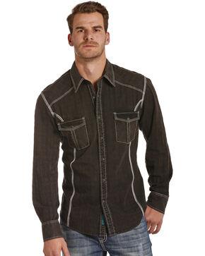 Rock & Roll Cowboy Men's Black Western Shirt , Black, hi-res
