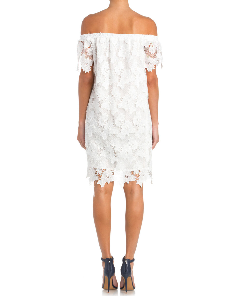 Miss Me Women's Off the Shoulder Navy Lace Dress, White, hi-res