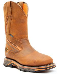 Hawx Men's Radian Waterproof Western Work Boots - Composite Toe, Brown, hi-res