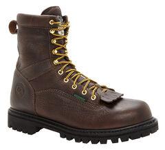 Georgia Waterproof Low Heel Logger Work Boots - Round Toe, Chocolate, hi-res