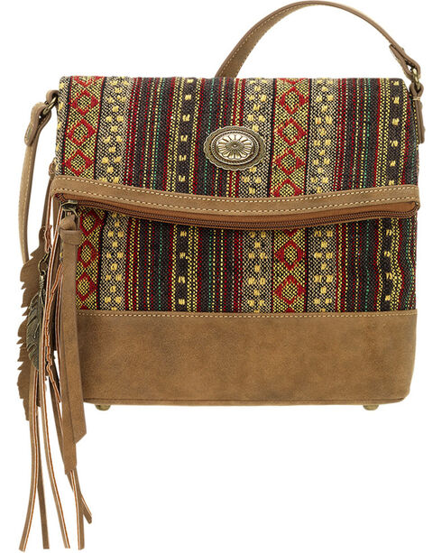 American West Bandana Women's Brown Serape Fold Over Crossbody Bag, Brown, hi-res