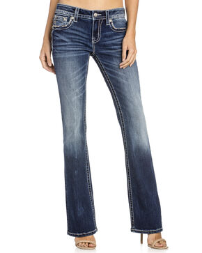 Miss Me Women's Floral Pocket Boot Cut Jeans, Indigo, hi-res