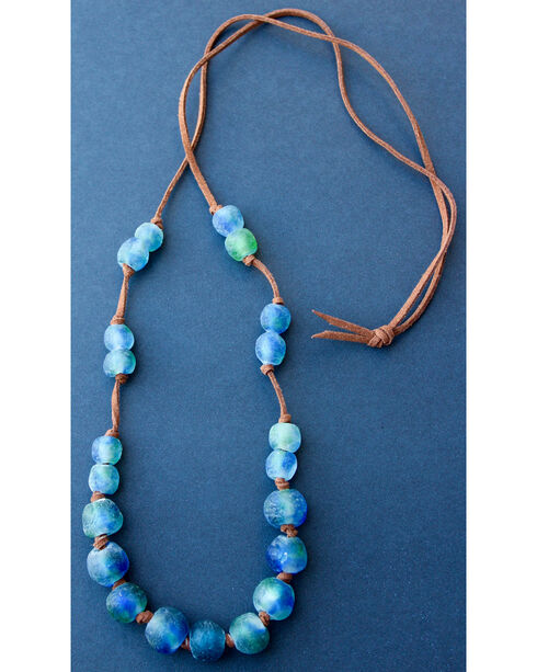 """2 Queen B's Women's Fearless Woman 36"""" Knotted Camel Suede Ghana Bead Necklace, Multi, hi-res"""