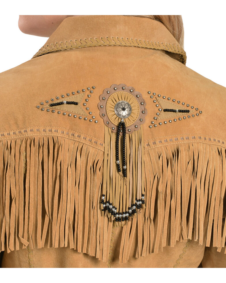 Scully Suede Fringe and Beaded Leather Jacket, Rust, hi-res