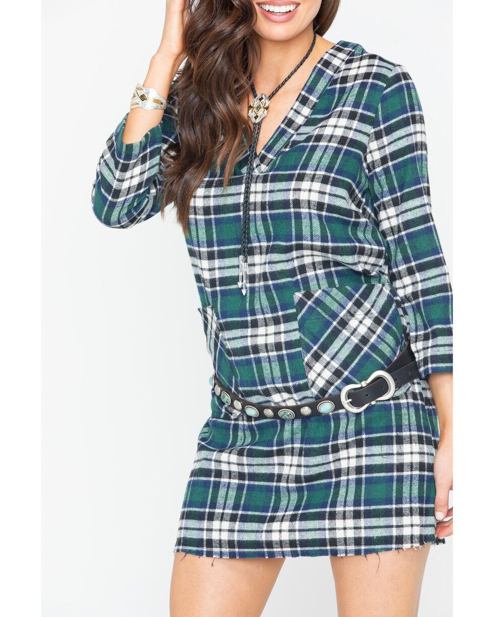 Glam Women's Green Flannel Plaid Raw Hem Pocket Dress , Green, hi-res