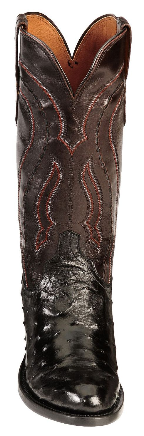 Lucchese Handcrafted 1883 Full Quill Ostrich Drosseto Boots - Round Toe, Black, hi-res