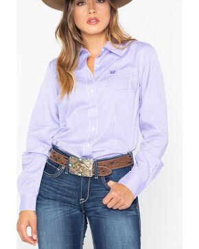 Cinch Women's Stripe Button Down Core Western Long Sleeve Shirt , Purple, hi-res