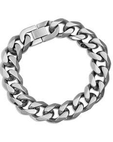 Montana Silversmiths Men's Cuban Link Chain Bracelet, Silver, hi-res