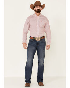 Ariat Men's Farnum Stretch Geo Print Long Sleeve Western Shirt , White, hi-res