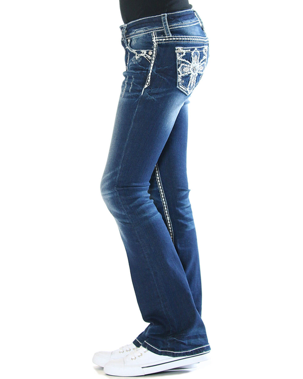 Grace in LA Girls' Blue Cross Embellished Jeans - Boot Cut , Blue, hi-res