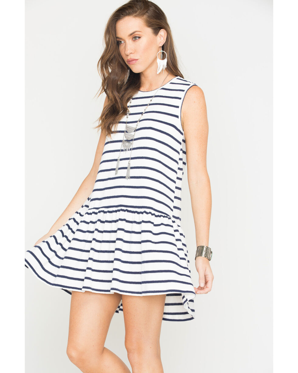 Polagram Women's Striped Mini Dress , Navy, hi-res