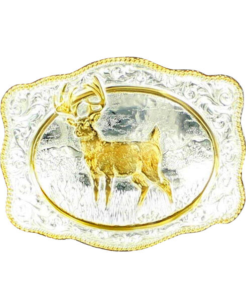 Gold-tone White Tail Deer Buckle, Silver, hi-res
