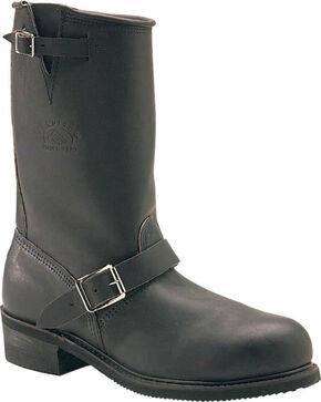 Carolina Men's Black Rebel Engineer Boots - Round Toe , Black, hi-res