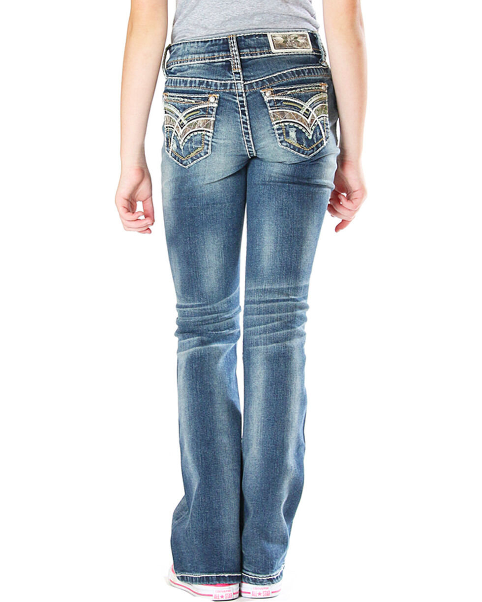 Grace in LA Girls' Real Tree Jeans (7-16) - Boot Cut , Indigo, hi-res