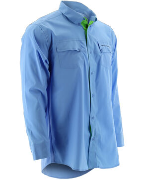 Huk Performance Fishing Men's Phenom Long Sleeve Shirt , Blue, hi-res