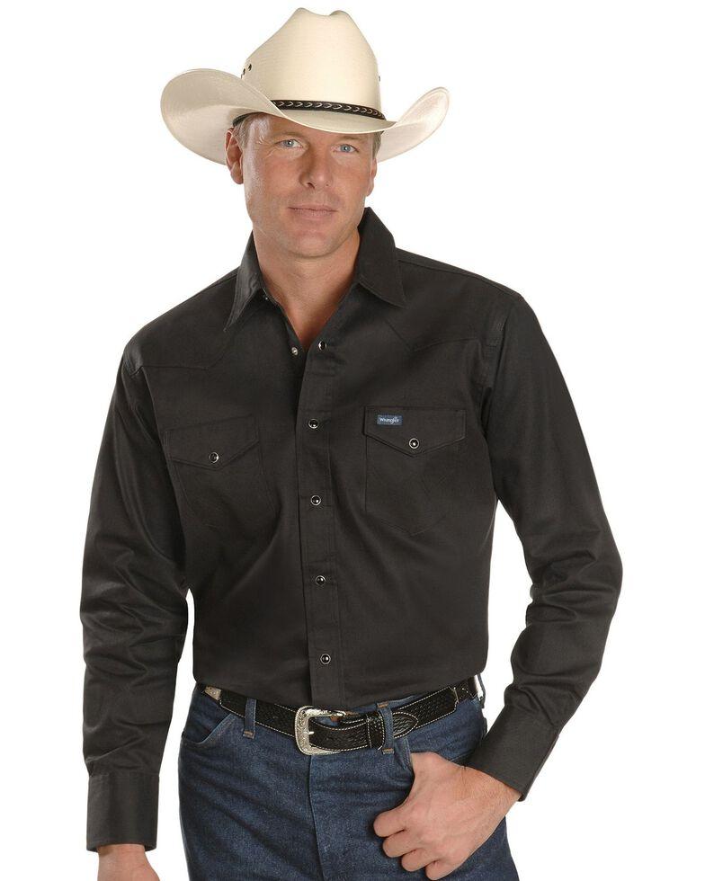 Wrangler Twill Work Shirt - Tall, Black, hi-res
