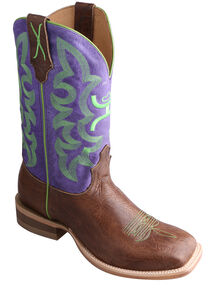 Twisted X Purple Hooey Cowboy Boots - Wide Square Toe, Brown, hi-res