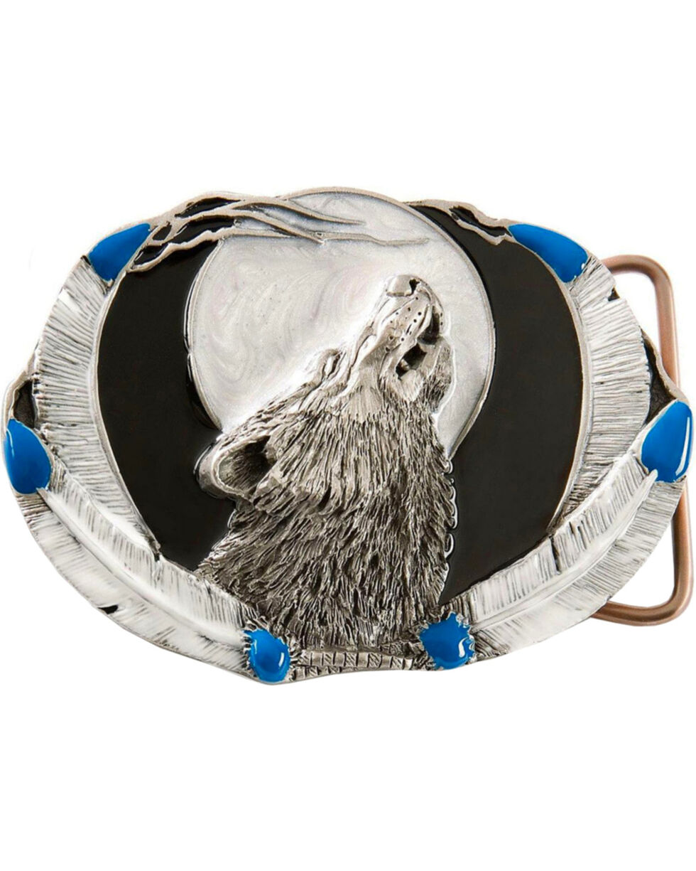 Howling Wolf Belt Buckle, Pewter, hi-res