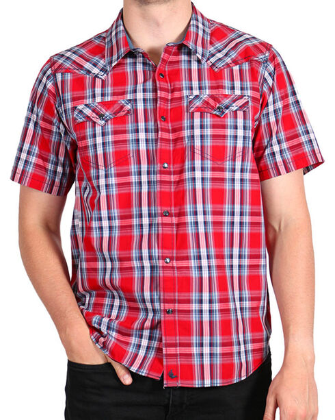 Cody James Men's Lava Short Sleeve Shirt, Red, hi-res