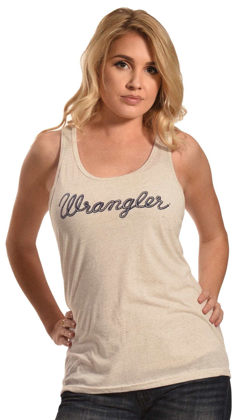 Wrangler Women's Cream Logo Tank , Natural, hi-res
