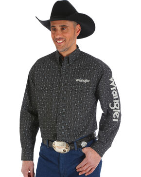 Wrangler Men's Black Cowskull Western Logo Shirt - Big and Tall, Black, hi-res