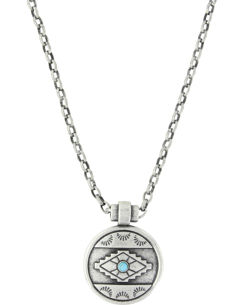 Montana Silversmiths Women's Silver Aztec Eyes Necklace , Silver, hi-res