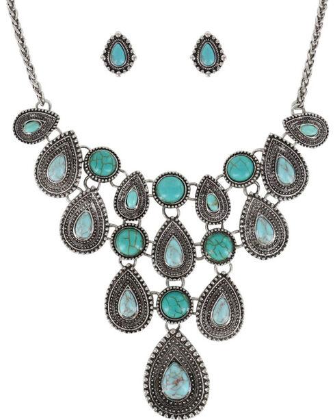 Shyanne Women's Teardrop Concho Jewelry Set, Silver, hi-res