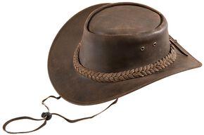 Bullhide Kids' Cedar Grove Leather Outback Hat, Brown, hi-res