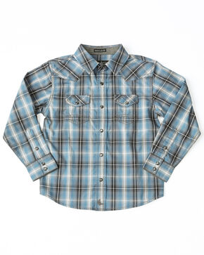 Cody James Toddler Boys' Ringo Ombre Plaid Long Sleeve Western Shirt , Brown, hi-res