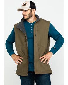 Hawx® Men's Olive Canvas Sherpa Lined Work Vest , Olive, hi-res