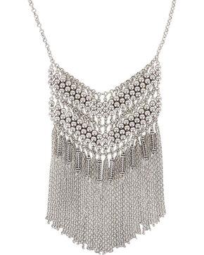 Shyanne Women's Fringe Chevron Necklace, Silver, hi-res