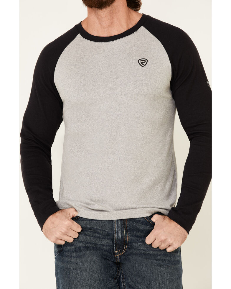 Rock & Roll Denim Men's FR Heather Grey Colorblock Long Sleeve Work Raglan T-Shirt , Heather Grey, hi-res