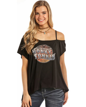 Rock & Roll Cowgirl Women's Honky Tonkin' Raglan Top, Black, hi-res