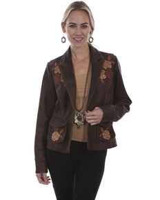 Leatherwear by Scully Women's Old Brown Leather Blazer, Brown, hi-res
