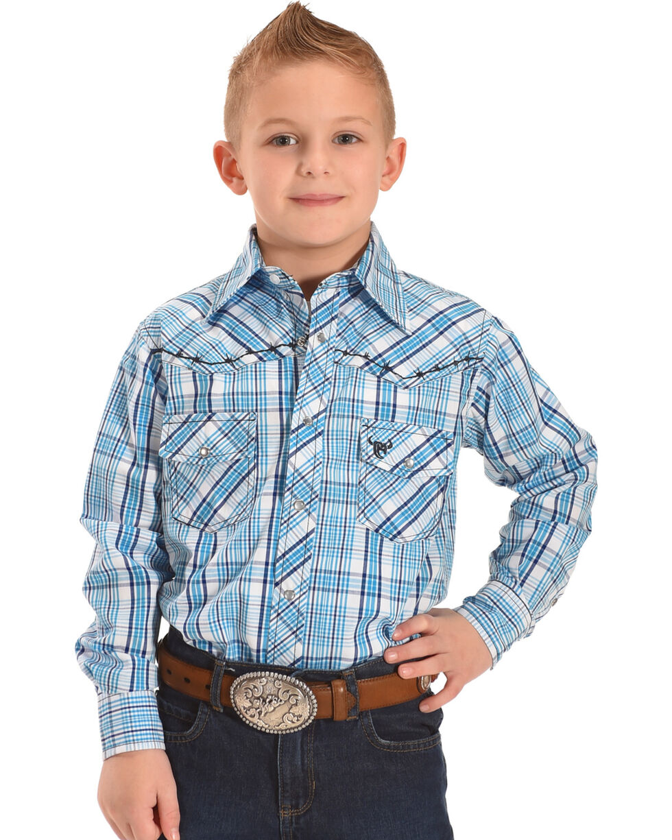 Cowboy Hardware Boys' Plaid Barbed Wire Long Sleeve Snap Shirt, Blue, hi-res