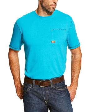 Ariat Men's Turquoise Rebar Crew Short Sleeve Pocket Tee, Turquoise, hi-res