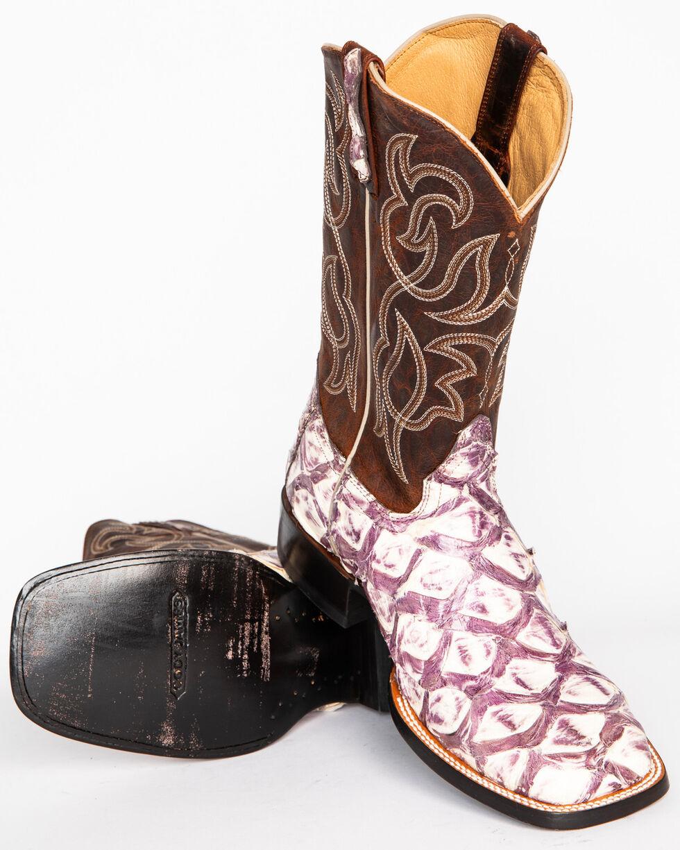 Cody James Men's Pirarucu Thunder Exotic Boots - Square Toe , White, hi-res