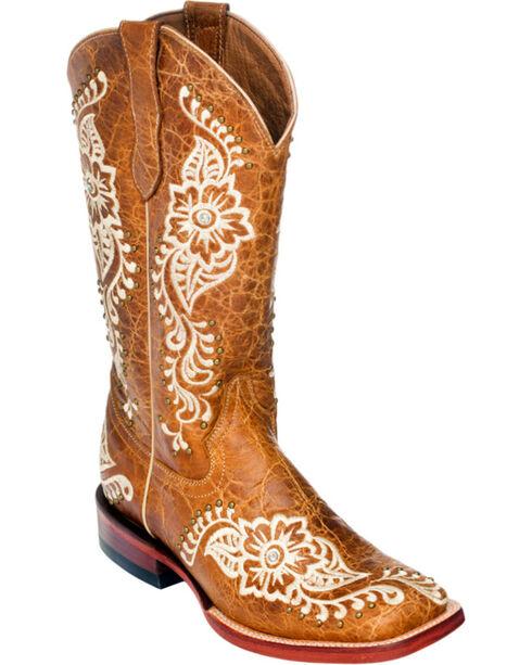 Ferrini Wild Flower Cowgirl Boots - Square Toe, Tan, hi-res