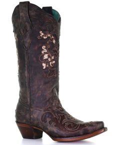 Corral Women's Exotic Lizard Inlay Western Boots - Snip Toe, Brown, hi-res