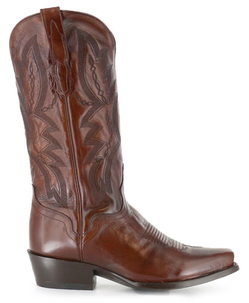 El Dorado Handmade Antique Calf Cowboy Boots - Square Toe, Tan, hi-res