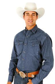 Roper Denim Blue Twill Western Shirt - Big & Tall, Blue, hi-res