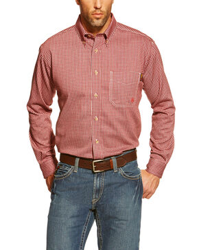 Ariat Men's Flame Resistant Bell Work Shirt- Big and Tall , Wine, hi-res