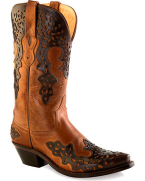 Old West Women's Dark Brown Overlay Western Boots - Snip Toe  , Brown, hi-res