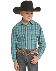 Rough Stock By Panhandle Boys' Turquoise Large Plaid Long Sleeve Western Shirt , Turquoise, hi-res