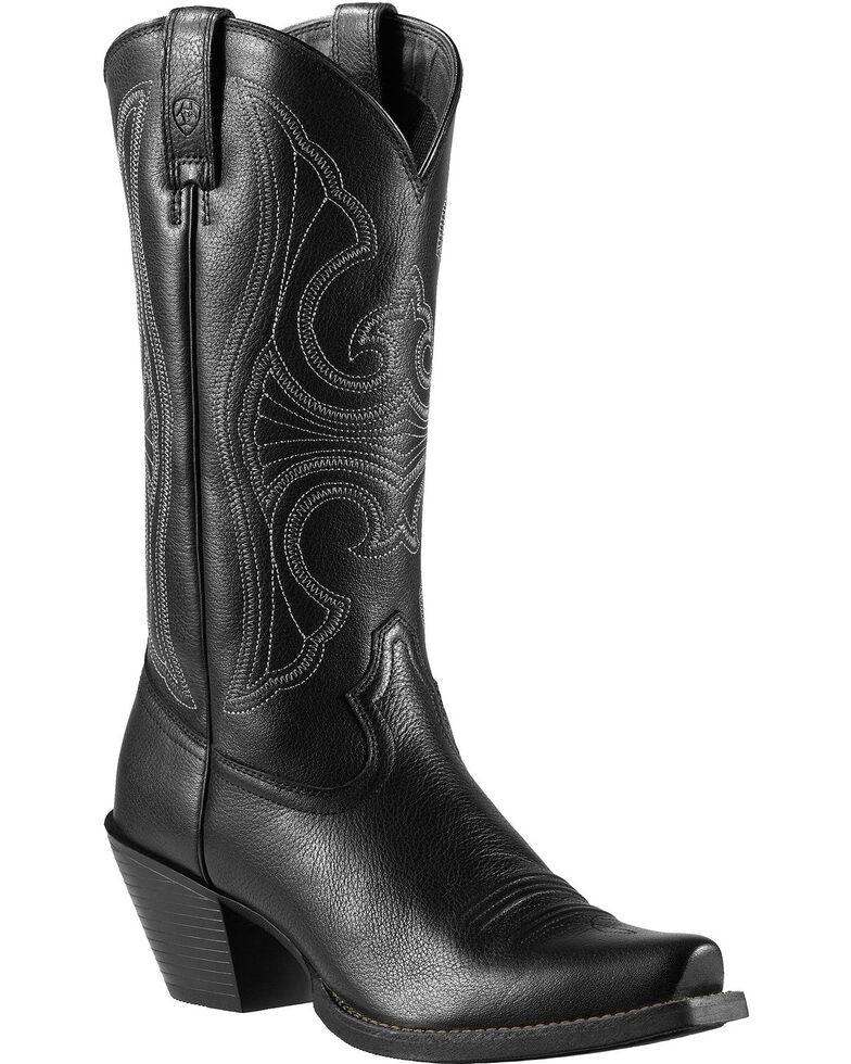 Ariat Roundup Cowgirl Boots - Snip Toe, Black, hi-res