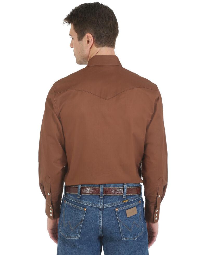 Wrangler Men's Solid Advanced Comfort Long Sleeve Work Shirt, Brown, hi-res